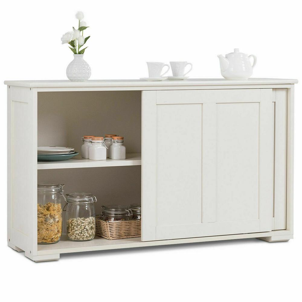 Costway Kitchen Ready to Assemble White Storage Cabinet 42 ...