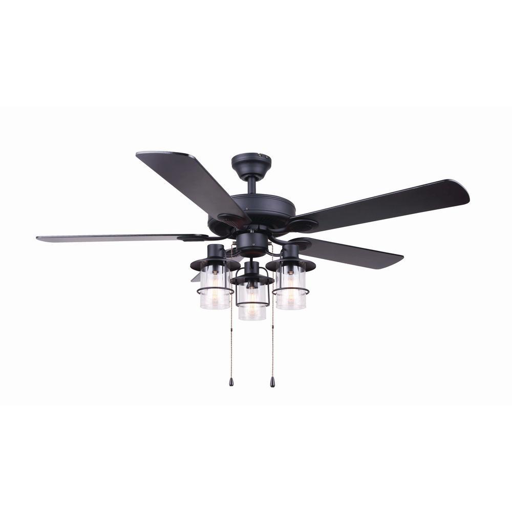 Catena 52 in. Matte Black Ceiling Fan with Light Kit