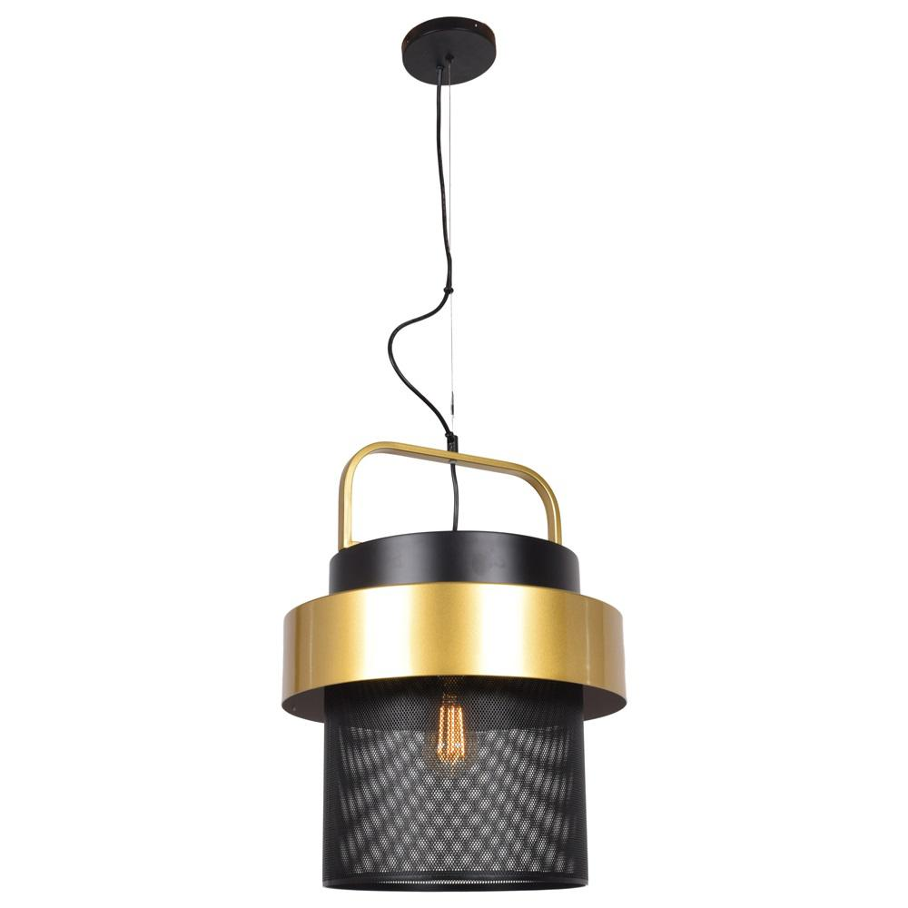 Access Lighting Fusion Led 1 Light Black And Gold Mesh Screen Pendant With Shade