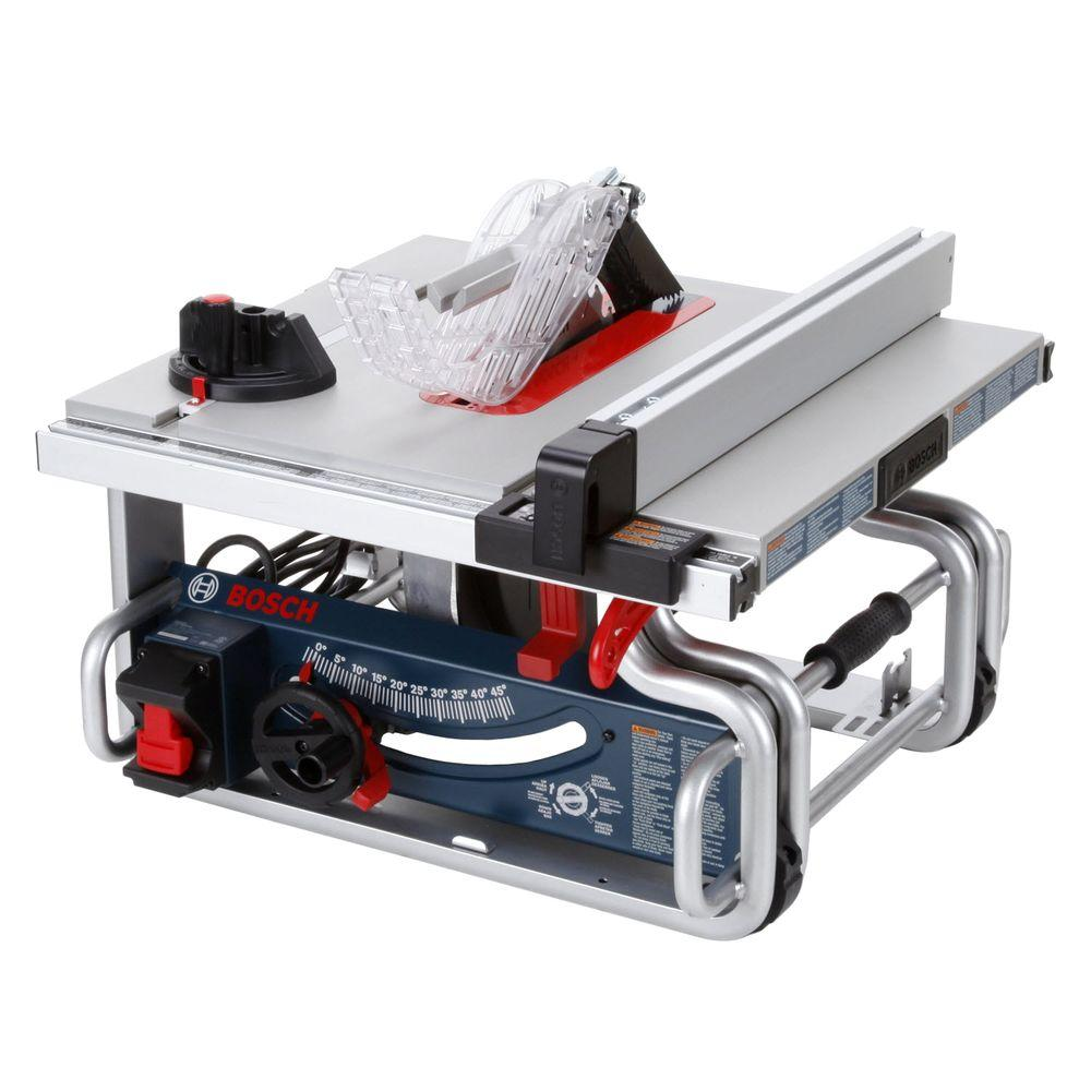 Gentil Bosch 15 Amp 10 In. Corded Portable Worksite Bench Table Saw With Smart  Guard System