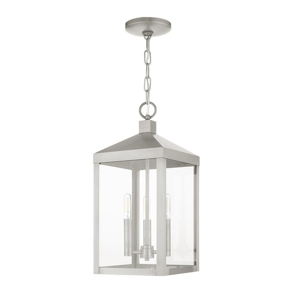 Nyack 3 Light Brushed Nickel Outdoor Pendant Lantern
