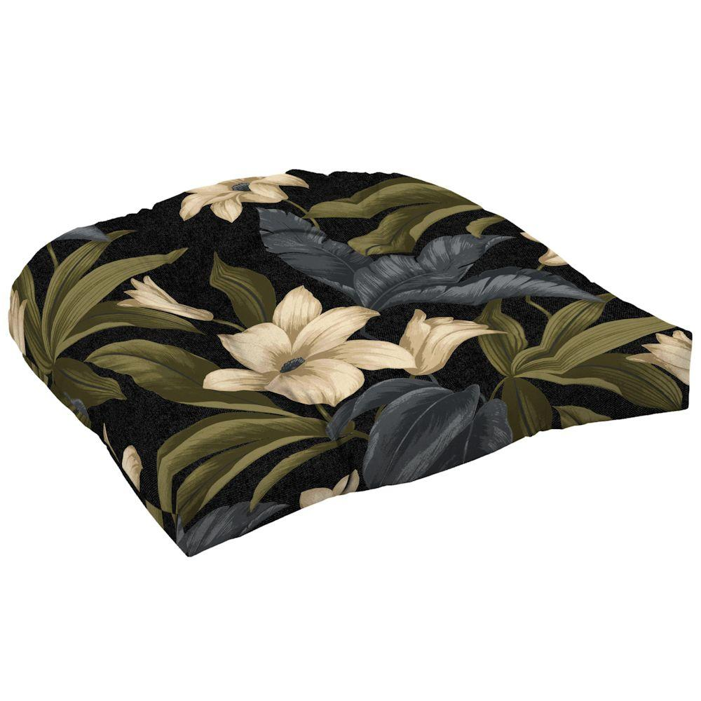 Hampton Bay Black Tropical Blossom Tufted Outdoor Seat Cushion (2-Pack)-DISCONTINUED
