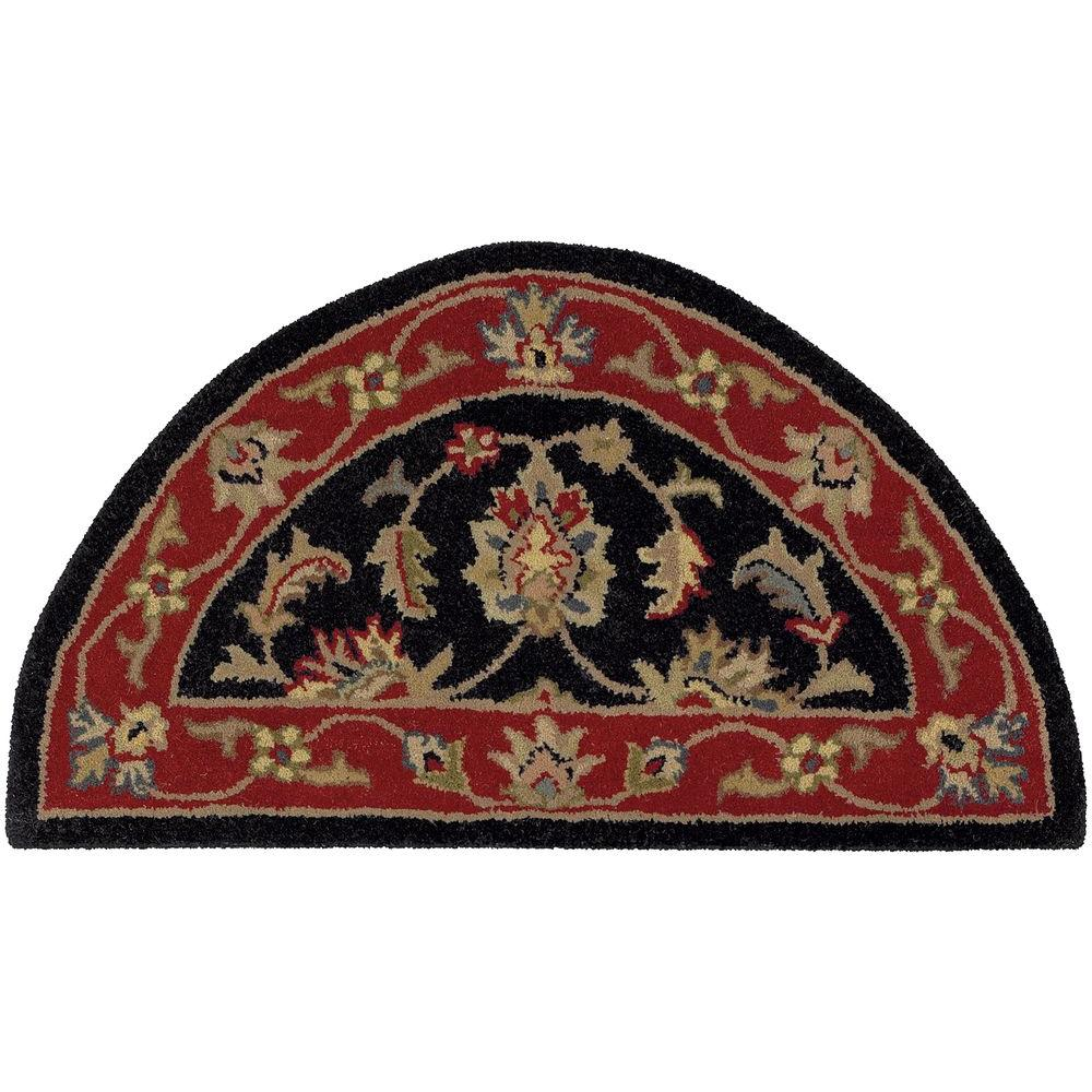 LR Resources Shapes Black/Red Half Moon 2 ft. 3 in. x 3 ft. 10 in. Traditional Indoor Area Rug