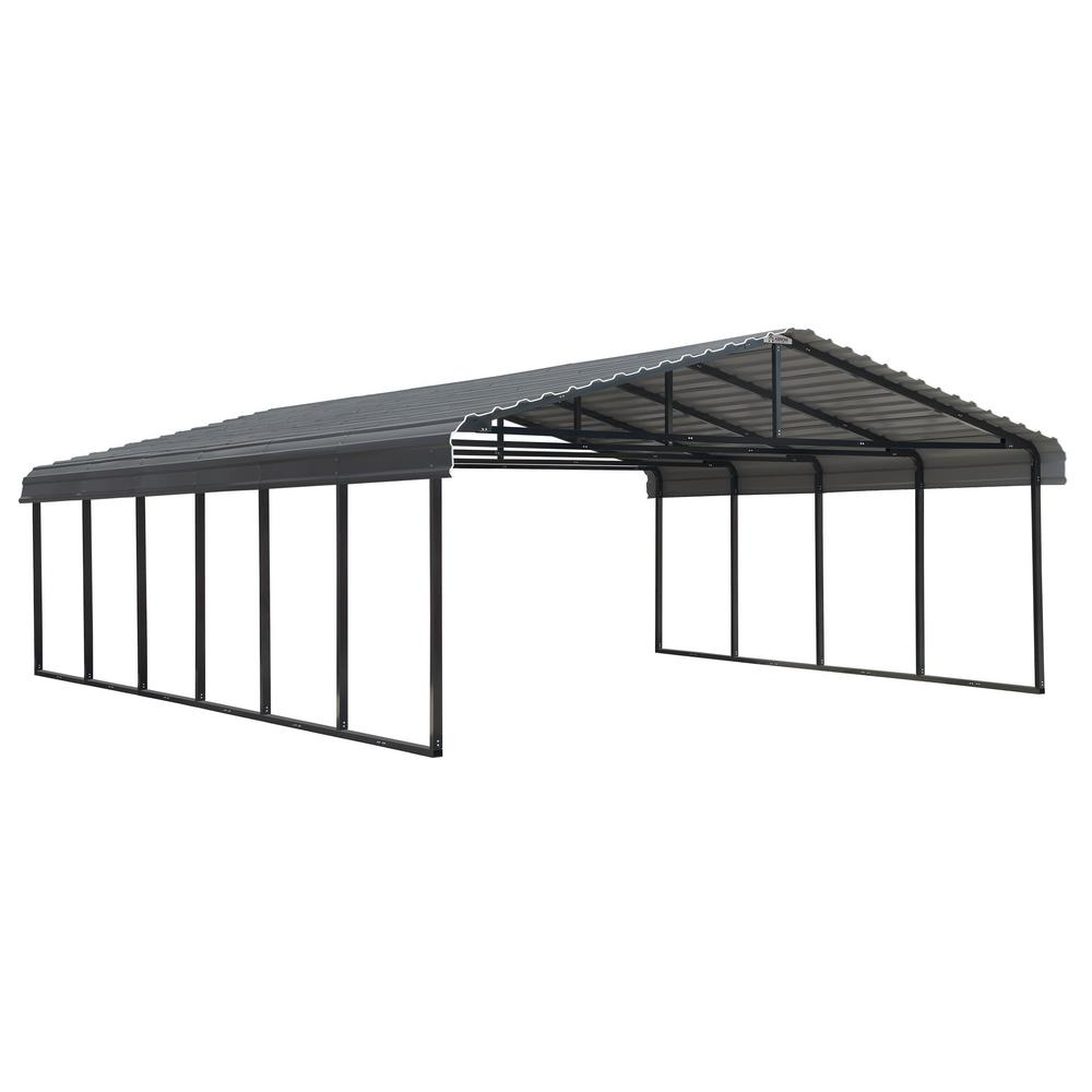 Arrow 20 ft. W x 29 ft. L x 7 ft. H Charcoal Steel Wind and Snow Rated Carport