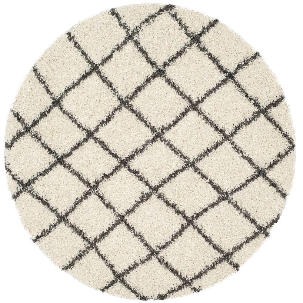 Dallas Shag Ivory/Dark Gray 6 ft. x 6 ft. Round Area