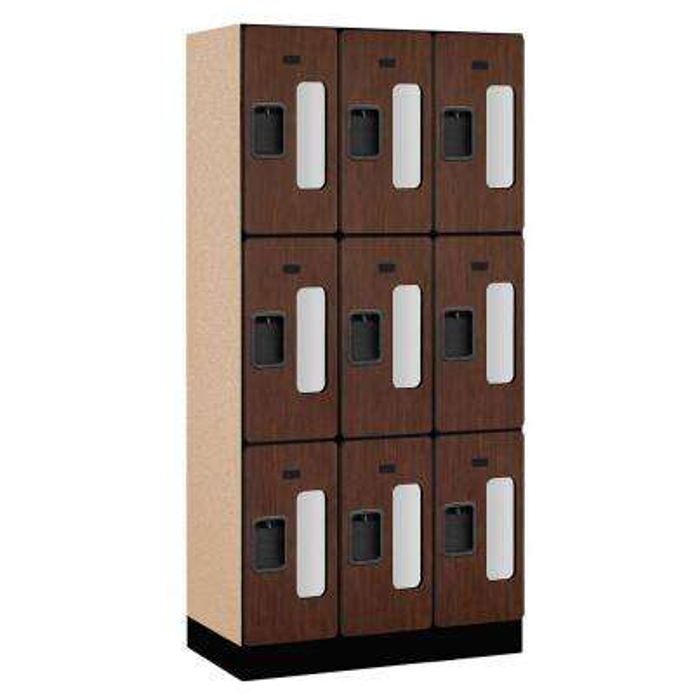 S-33000 Series 36 in. W x 76 in. H x 18 in. D 3-Tier See-Through Designer Wood Locker in Mahogany