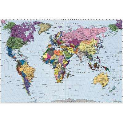 74 in. x 106 in. World Map Wall Mural
