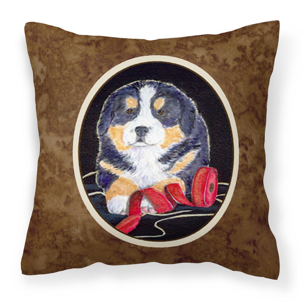14 in. x 14 in. Multi-Color Lumbar Outdoor Throw Pillow Bernese Mountain Dog Decorative Canvas Fabric Pillow