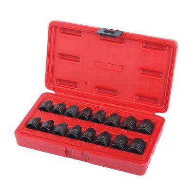 3/8 in. Drive Stubby Impact Hex Driver SAE and Metric Set (16-Piece)