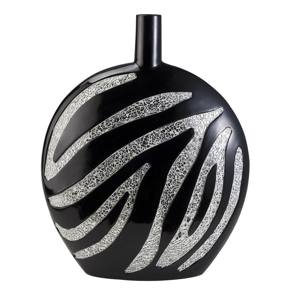 ORE International 18 in. H Zebra Print Decorative Vase