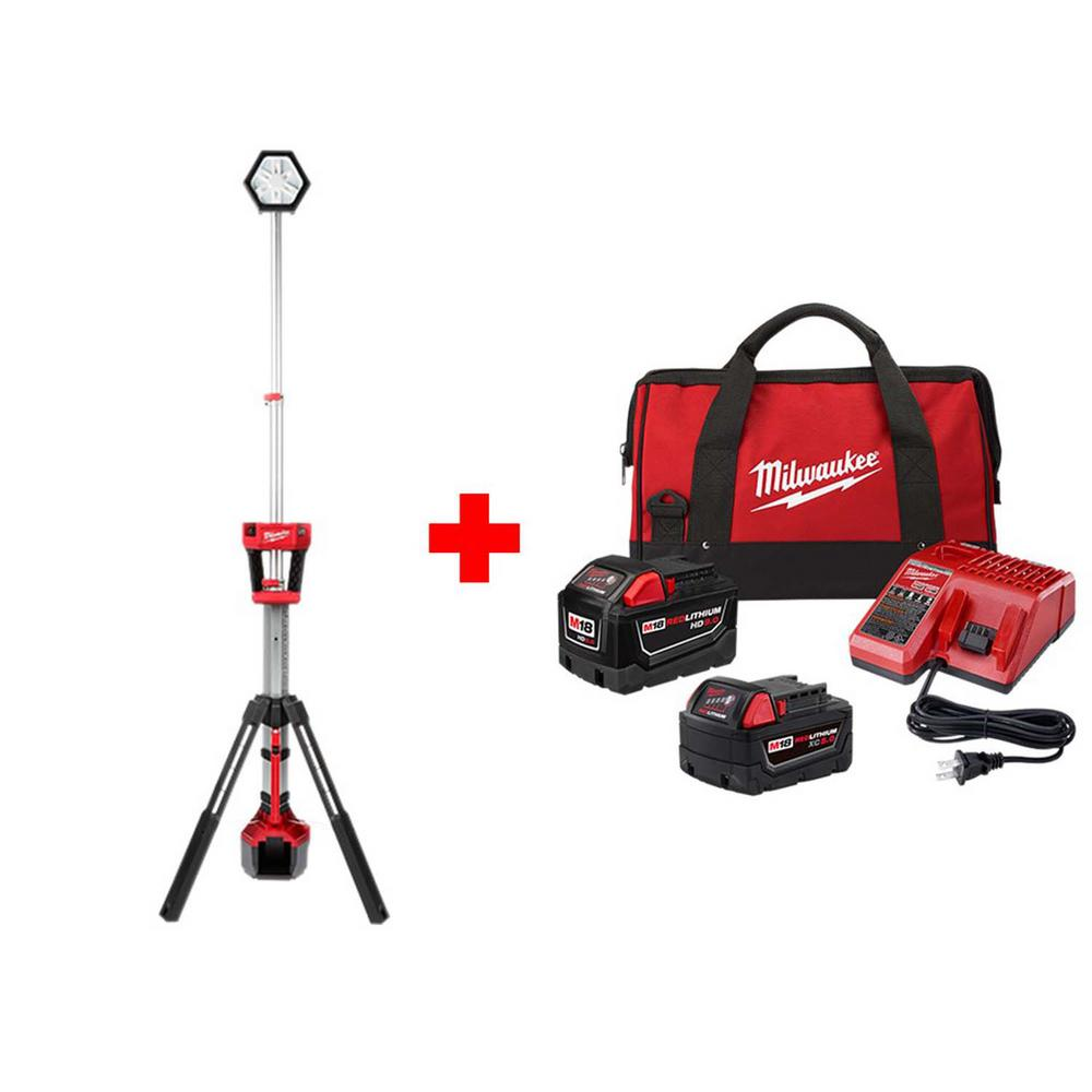 Milwaukee M18 18-Volt Lithium-Ion Cordless ROCKET Dual Power Tower Light  with One 9 0 Ah and One 5 0 Ah Battery, Bag and Charger