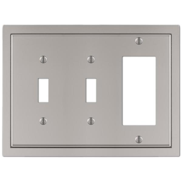 Averly 3 Gang 2-Toggle and 1-Rocker Metal Wall Plate - Satin Nickel