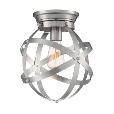 10.5 in. 1-Light Brushed Nickel Flush Mount Ceiling Light