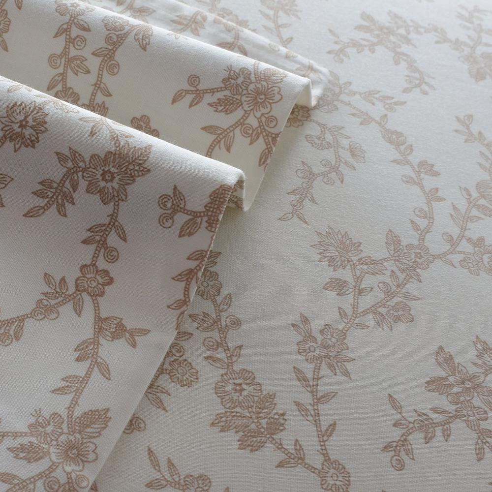 Laura Ashley Flannel Queen Sheet Set: Laura Ashley Victoria Beige 4-Piece Queen Cotton-Flannel