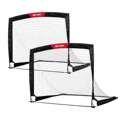 Net Playz Soccer Goal 4 ft. x 3 ft. Easy Fold-Up Portable Training (Set of 2)