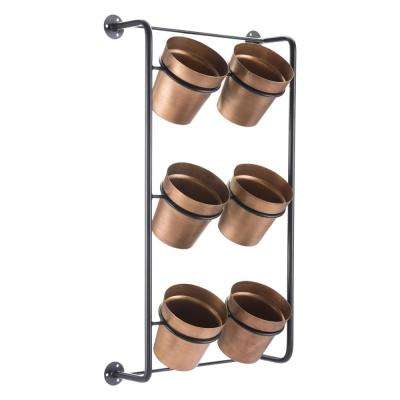 18.7 in. W x 8.9 in. D x 33.1 in. H Gold Steel Wall Planter