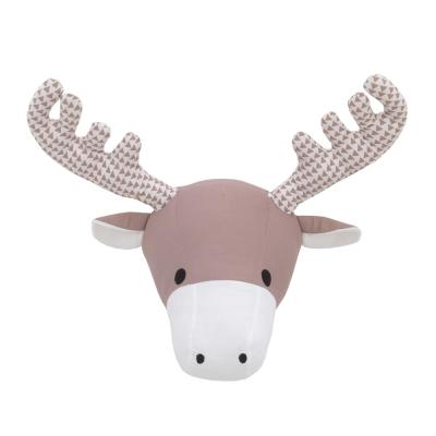 Brown and White Moose Plush Head Wall Decor