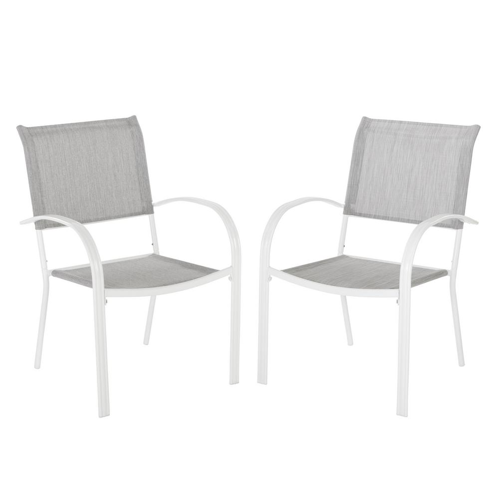 Terrific Hampton Bay Mix And Match White Stackable Sling Outdoor Dining Chair In Wet Cement 2 Pack Bralicious Painted Fabric Chair Ideas Braliciousco