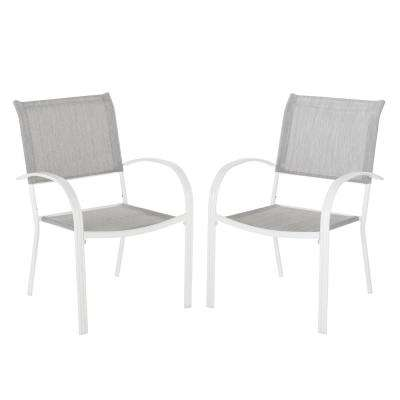 Mix And Match White Stackable Sling Outdoor Dining Chair In Wet Cement 2 Pack