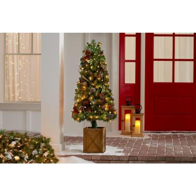 4.5 ft. Woodmoore Mixed Pine Potted Pre-Lit Artificial Christmas Tree