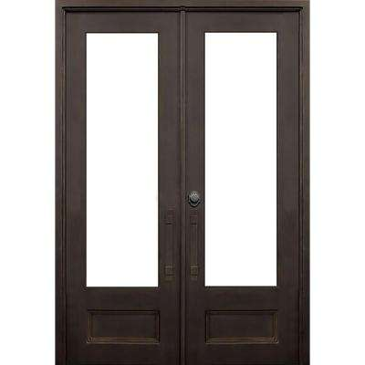 64 in. x 96 in. Marco Island Dark Bronze Classic 3/4 Lite Painted Wrought Iron Prehung Front Door (Hardware Included)