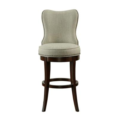 Natural Beige Nailhead Trim Upholstered 30 in. Swivel Bar Stool