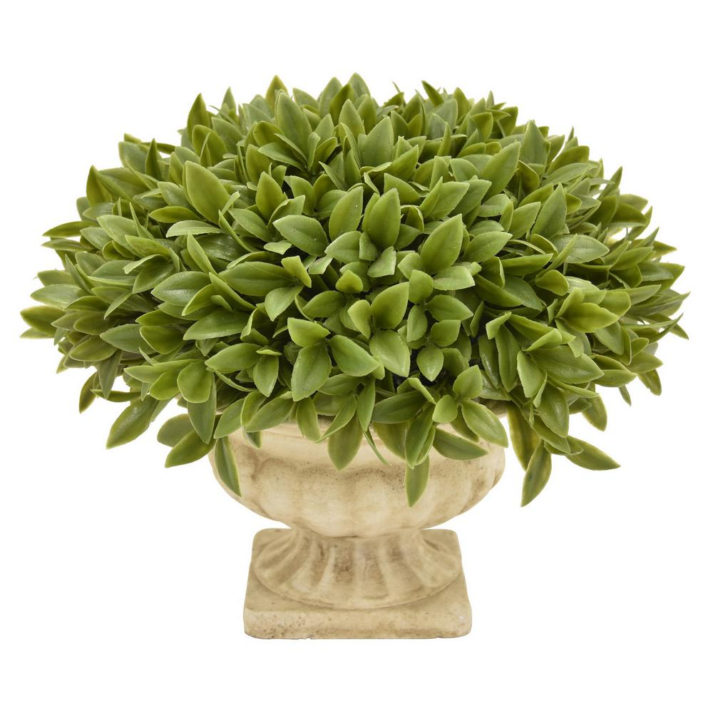 11 in. x 11 in. Green Faux Boxwood Grass Pot