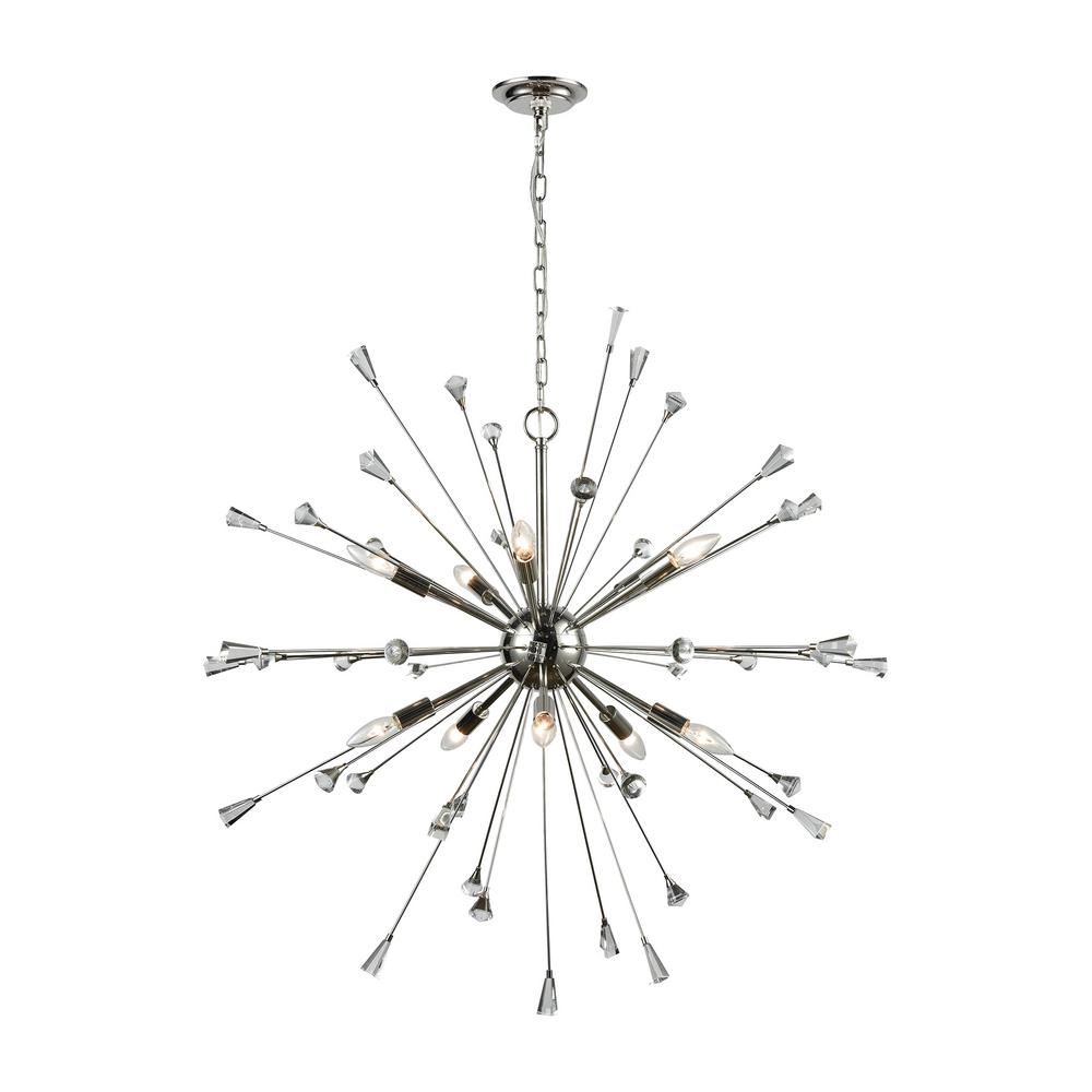 Titan Lighting Sprigny 10-Light Polished Nickel With Clear