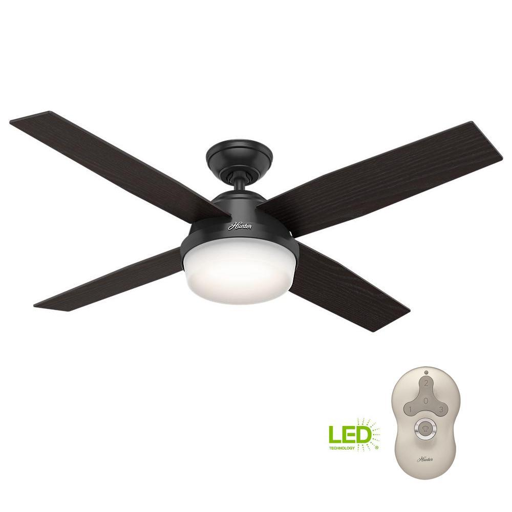 Led Indoor Outdoor Matte Black Ceiling Fan With Light
