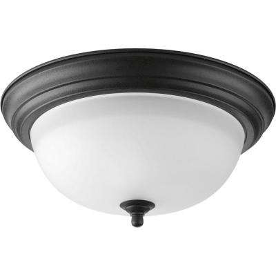 13.25 in. 2-Light Forged Black Flush Mount with Alabaster Glass
