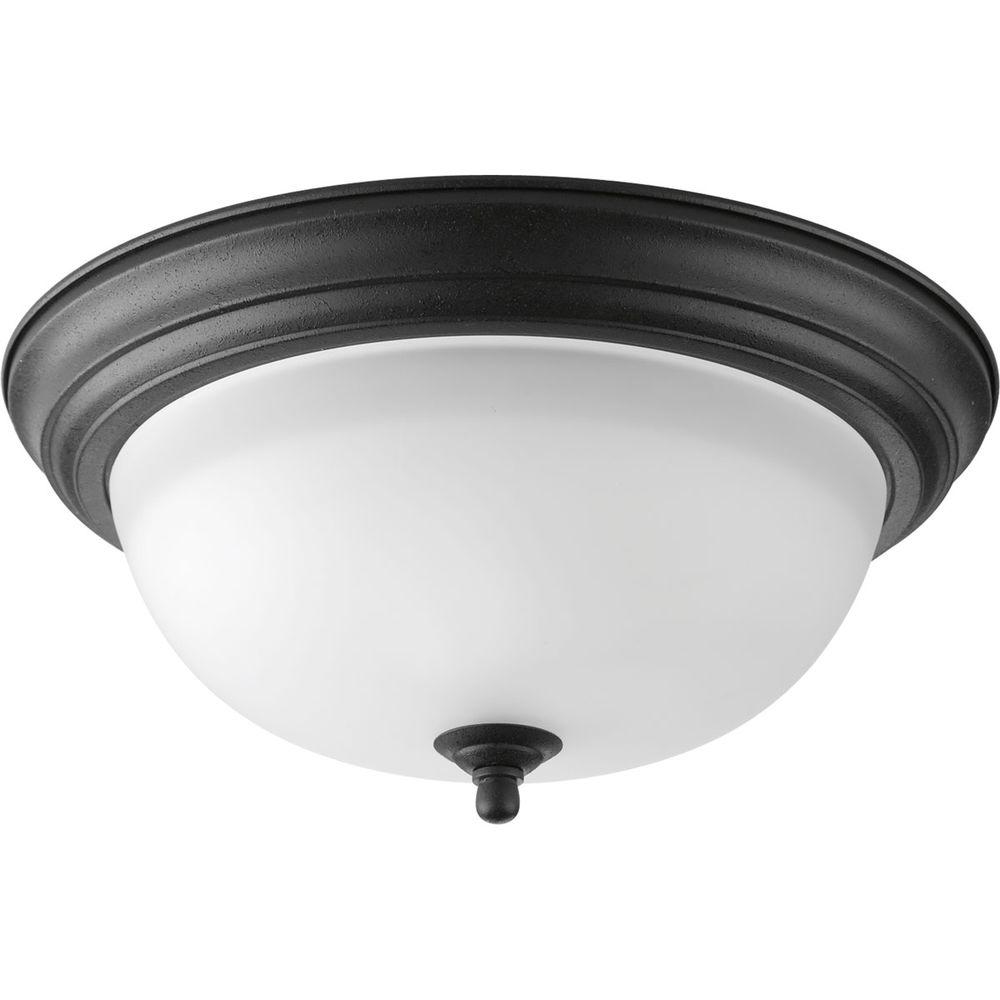 2-Light Forged Black Flushmount with Alabaster Glass