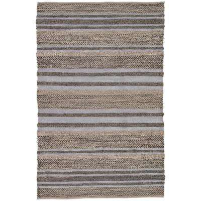 Natural Charcoal Gray 3 ft. x 4 ft. Stripe Area Rug