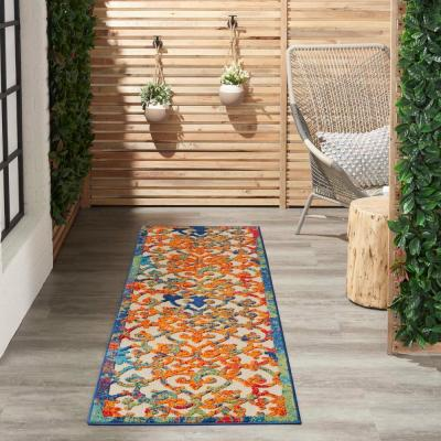 Aloha Multicolor 2 ft. x 8 ft. Moroccan Modern Indoor/Outdoor Runner Rug