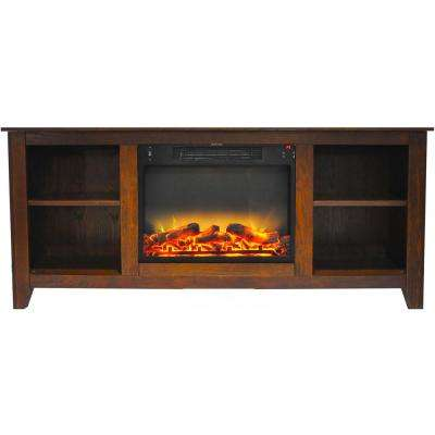 Santa Monica 63 in. Electric Fireplace and Entertainment Stand in Walnut with Enhanced Log Display