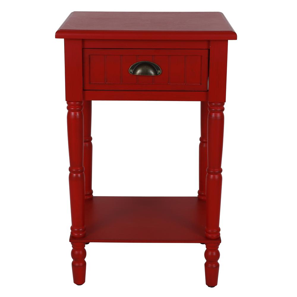 Decor therapy bailey bead antique red side table