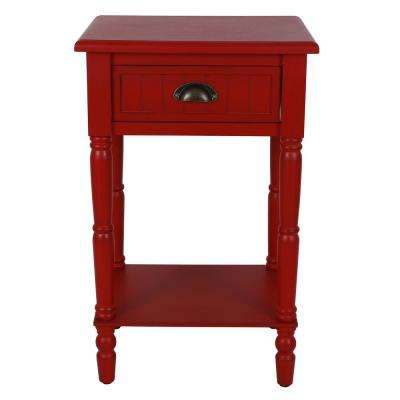 Bailey Bead Antique Red Side Table