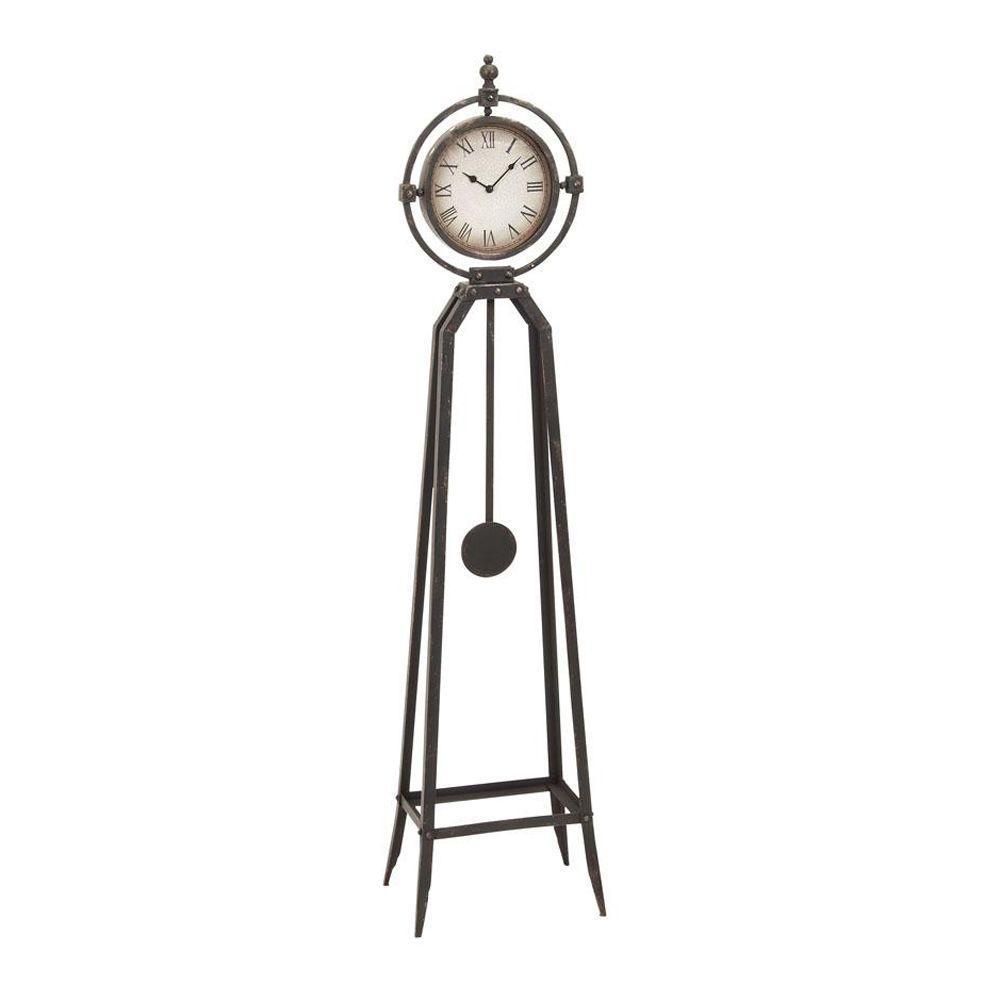 Home Decorators Collection 13 in. W Metal Antique Bronze Floor Clock