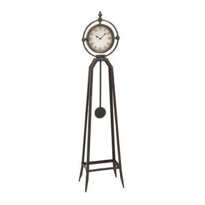 13 in. W Metal Antique Bronze Floor Clock