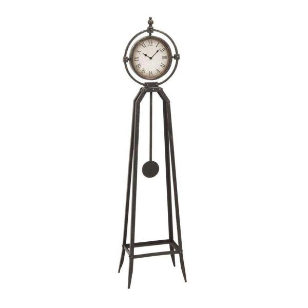 13 In W Metal Antique Bronze Floor Clock 1002700280 The Home Depot