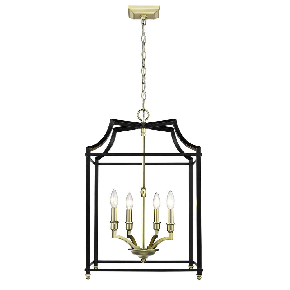 Leighton 4-Light Satin Brass and Black Pendant Light