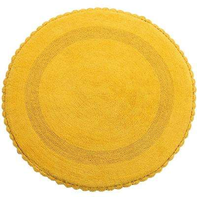 Crochet Lace 36 in. Round Cotton Reversible Yellow Hand Knitted Crochet Lace Border Machine Washable Bath Rug