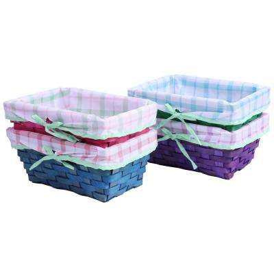 Color Painted Wooden Shelf Storage Baskets with Patterned Lining and Bow (Set of 4)