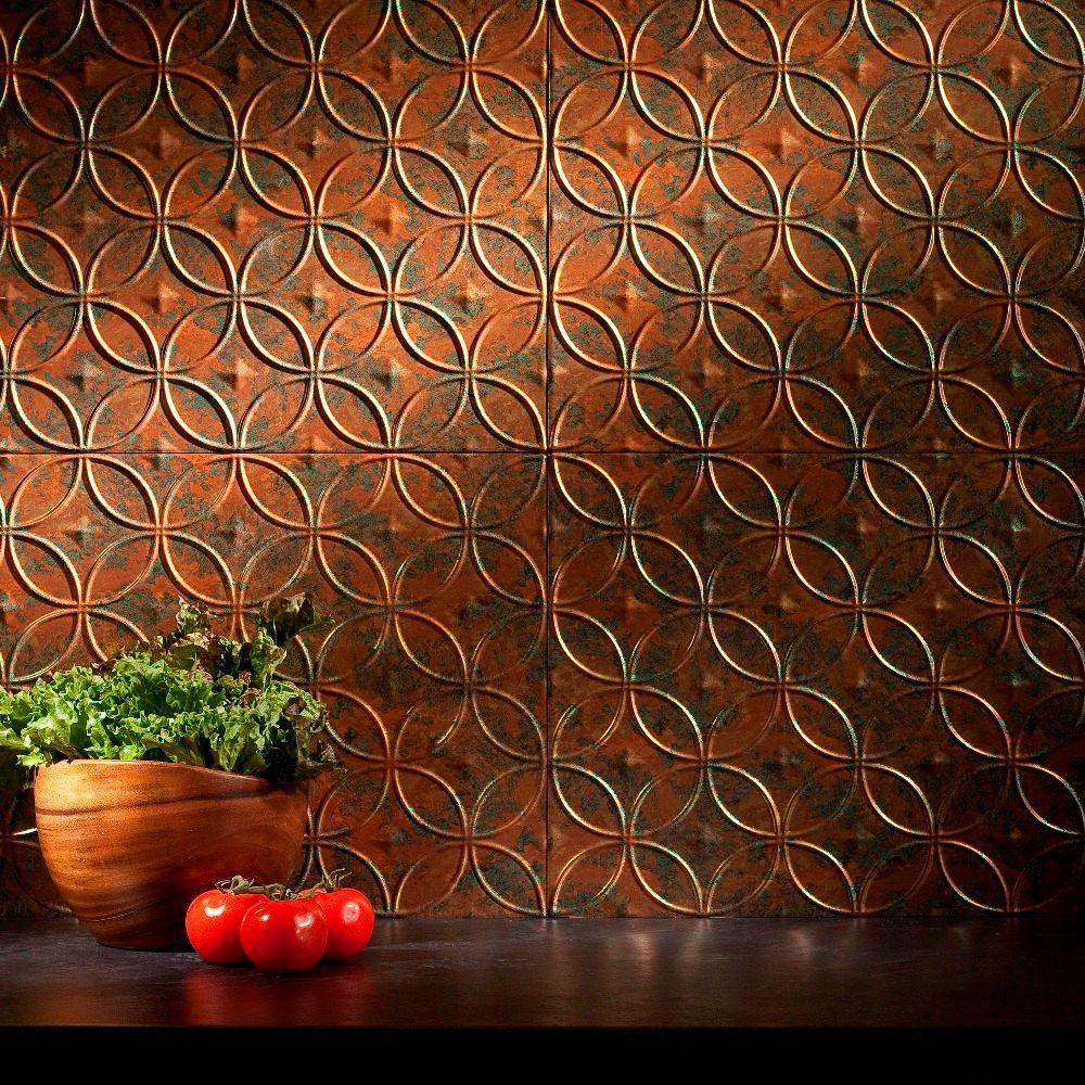 24 in. x 18 in. Rings PVC Decorative Backsplash Panel in Copper Fantasy