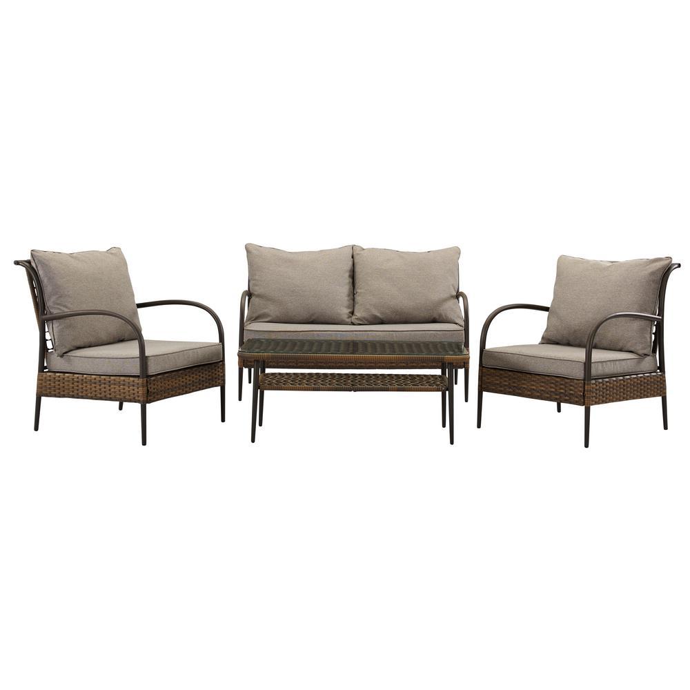 Santorini 4 Piece Wicker Patio Conversation Set With Multi Grey Cushions