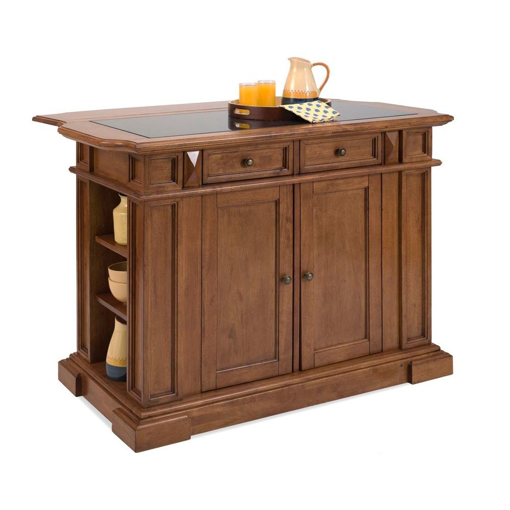Home Styles Deluxe Traditions Kitchen Island in Cottage Oak and Black Granite Inlay-DISCONTINUED
