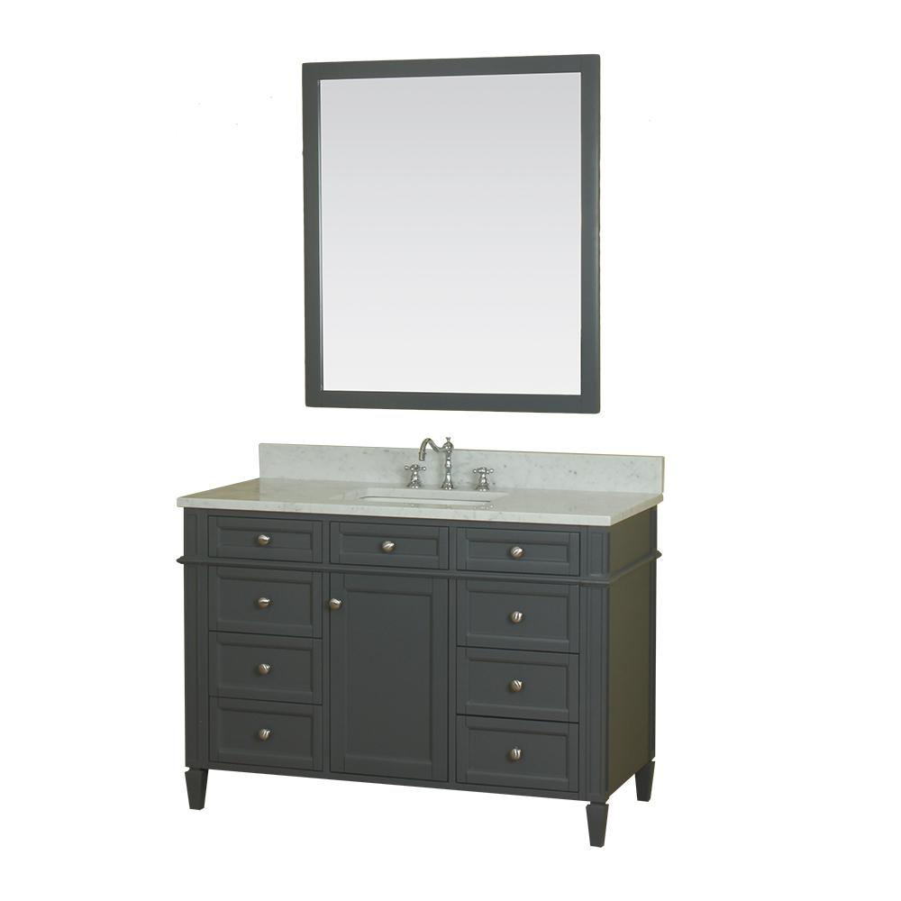 Alya Bath Samantha 48 in. W x 22 in. D Vanity in Gray with Marble Vanity Top in White with White Basin and Mirror