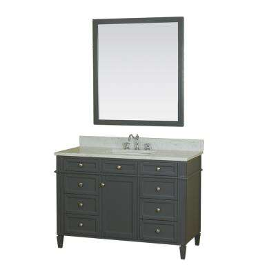 Samantha 48 in. W x 22 in. D Vanity in Gray with Marble Vanity Top in White with White Basin and Mirror