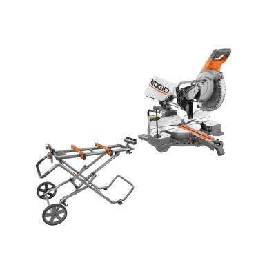 15 Amp 10 in. Sliding Miter Saw with Universal Mobile Miter Saw Stand and Mounting Braces