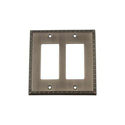 Egg and Dart Switch Plate with Double Rocker in Antique Pewter