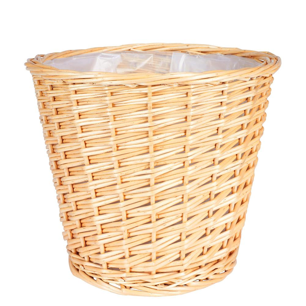 Household Essentials Medium Willow Waste Basket with Liner/Natural